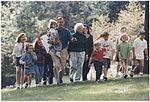 President and Mrs. Bush walk with their grandchildren at Camp David - NARA - 186458.jpg
