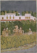 A Mughal prince and ladies in a garden.