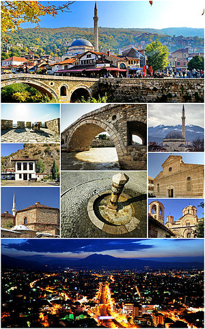 From top (left to right):  Prizren old town, the fortress, Old Stone Bridge, Prizren, Sinan Pasha Mosque, Prizren League Building, Shadervan Square,  Cathedral of Our Lady of Perpetual Succour, Gazi Mehmet Pasha Hammam, Our Lady of Ljeviš and a panoramic view of the city seen from the fortress during the evening.
