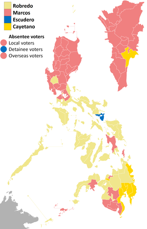 Philippine general election, 2016 - Results of the vice presidential election per province, denoting the provinces and cities won by each candidate.