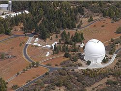 "PTI is located atop Palomar Mountain, next to the large white dome of the historic 200"" Hale Telescope"