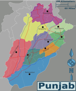 Map of Punjab, Pakistan
