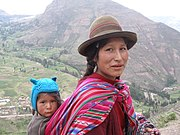 Peruvian woman and child of Amerindian ancestry
