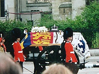 Funeral of Queen Elizabeth The Queen Mother - The Queen Mother's funeral carriage. The coffin is draped with her personal standard, shown below.