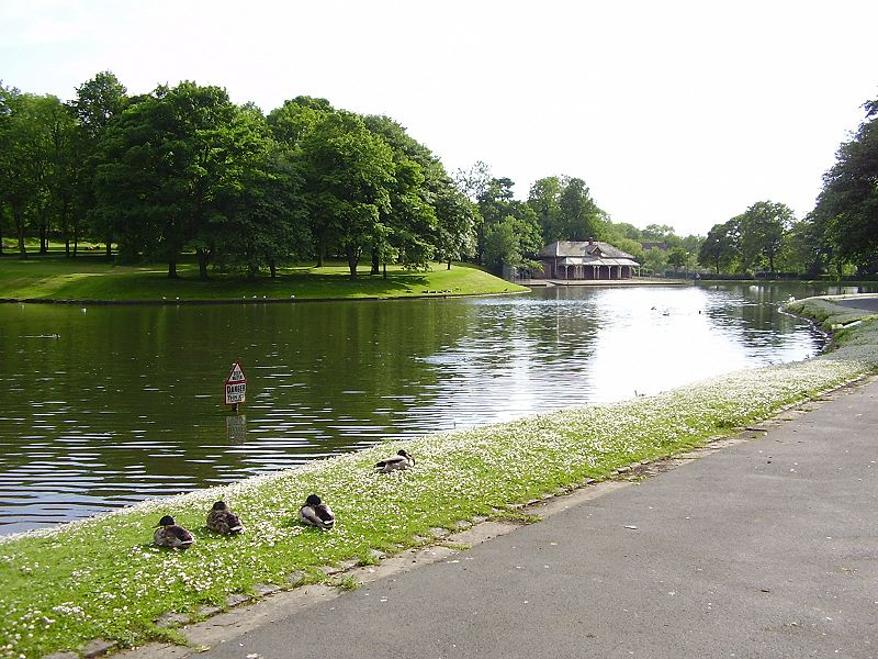 The main lake in Queens Park, Blackburn, Lancashire, England