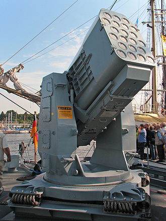 RIM-116 Rolling Airframe Missile - RAM Launcher on fast attack craft Ozelot of the German Navy.