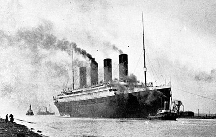Titanic on sea trials, 2 April 1912 RMS Titanic sea trials April 2, 1912 (cropped).jpg