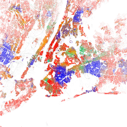 A map of racial distribution in New York, 2010 U.S. Census. Each dot is 25 people: White, Black, Asian, Hispanic or Other (yellow) Race and ethnicity 2010- New York City (5559914315).png