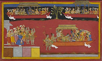 Rama being welcomed back to Ayodhya, also show...