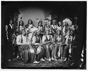 Red Cloud - Seated, L to R: Yellow Bear, Red Cloud, Big Road, Little Wound, Black Crow; Standing, L to R: Red Bear, Young Man Afraid of his Horse, Good Voice, Ring Thunder, Iron Crow, White Tail, Young Spotted Tail, ca. 1860-1880