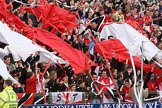 Swindon Town F.C. - Swindon Town supporters with banners provided by Red Army Loud and Proud