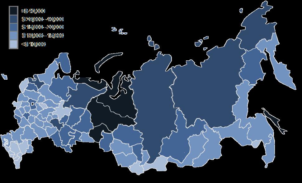 Regional GDP per capita map of Russia