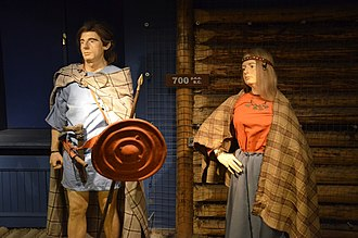 Bastarnae - Attempt to reconstruct Bastarnae costumes, in display at the Archaeological Museum of Kraków. Such clothing and weapons were commonplace among barbarian peoples on the empire's borders