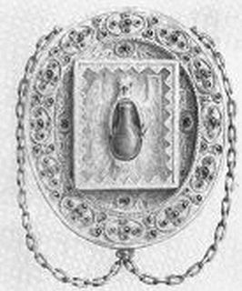 Glass vial containing the chrism for French coronations from 1131 to 1774
