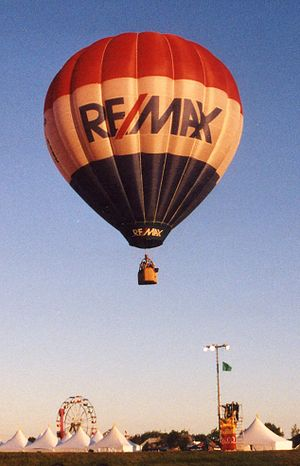 RE/MAX hot air balloon at a balloon festival.