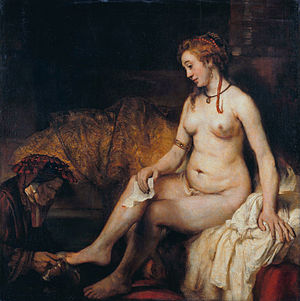 Ten Commandments in Catholic theology - Bathsheba at Her Bath by Rembrandt, 1654. The story of King David and Bathsheba illustrates covetousness that led to the sins of adultery and murder.