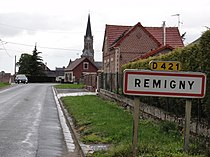 Remigny (Aisne) city limit sign.JPG
