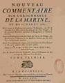 René-Josué Valin - Nouveau commentaire sur l'ordonnance de la marine du mois d'août 1681, T1, La Rochelle 1766, page de titre.png
