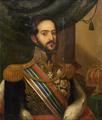 Retrato de El-Rei D. Miguel vestindo uniforme de gala; condecorações; manto de arminho e mesa com coroa e ceptro real.png