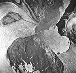 Riggs and Muir Glaciers, glacier remnents and tidewater glacier terminus, August 24, 1963 (GLACIERS 5848).jpg