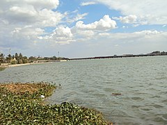 River cauvery view with railway bridge and full water like sea..JPG
