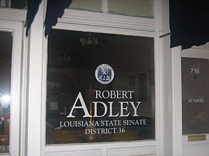 Robert Adley (Louisiana politician) - One of Adley's state senate office buildings in downtown Minden