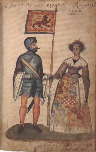 Elizabeth de Burgh - Robert Bruce and Elizabeth de Burgh, from the Senton Armorial, National Library of Scotland