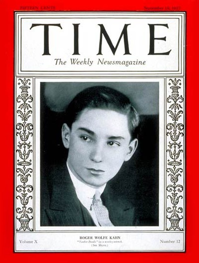 From commons.wikimedia.org: Roger Wolfe Kahn on the cover of Time magazine (September 19, 1927) {MID-235665}