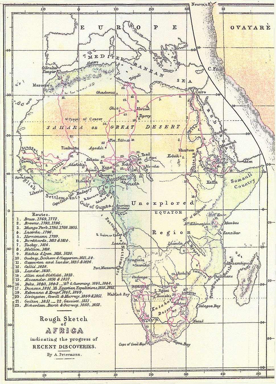 Routes of European explorers in Africa, to 1853