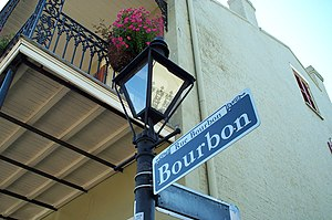 The famous sign of Bourbon Street in New Orleans.