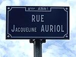 Rue Jacqueline Auriol (Lyon) - panneau de rue.jpg