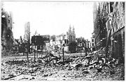 Ruins of Ypres market square.