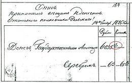 Знак рубля (обведён), который использовался в XVII—XIX веках, на описи денег, изъятых у декабриста Раевского