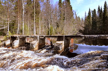 An abandoned Finnish dam at a waterfall near Ruskeala, Karelia