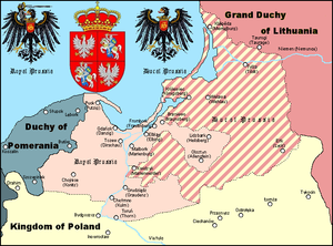 Duchy of Prussia - Duchy of Prussia (striped) in the second half of the 16th century.