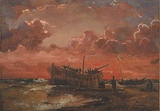 Carl Frederik Sørensen - Image: Sørensen Et vrag på Jyllands vestkyst ved solnedgang 1847