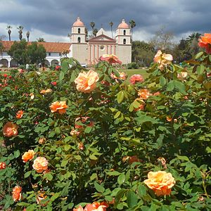 Mission Park, Santa Barbara - View of the Mission from the Rose Garden