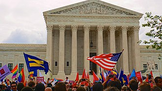 Obergefell v. Hodges - On the morning of June 26, 2015 outside the Supreme Court, the crowd celebrates the Court's decision.