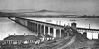 Dundee - The original Tay Bridge (from the south) the day after the disaster. The collapsed section can be seen near the northern end