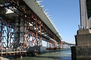 Falsework - Falsework parallel truss bridges temporarily supporting deck segment box structures
