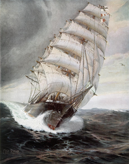 SMS Seeadler, the three-masted windjammer that raided the Atlantic and Pacific in an age of dreadnoughts (painting by Christopher Rave) SMSSeeadlerFront.PNG