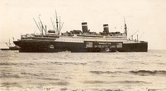 SS Manhattan (1931) - SS 'Manhattan beached at Palm Beach, Florida