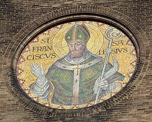 St. Francis de Sales Oratory (St. Louis) - Exterior mosaic of St. Francis de Sales