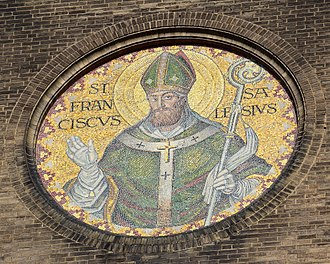 Francis de Sales - Mosaic of Sales on the exterior of St. Francis de Sales Oratory in St. Louis, MO