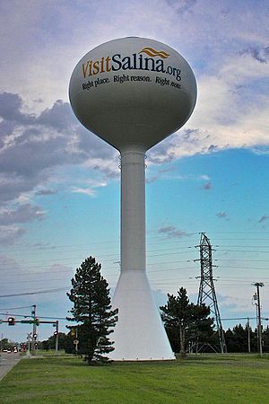 Salina, Kansas - Water tower in Salina (2013)