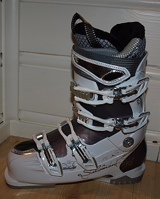 Flange - The extensions at the toe and heel of this ski boot produce flanges used to clip into the ski bindings.
