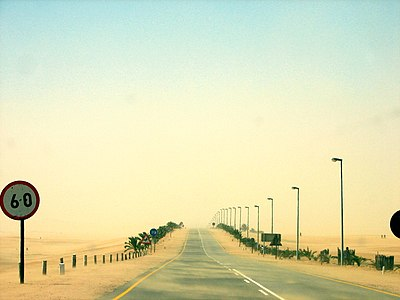Sandstorm while driving from Swakopmund to Walfish Bay, 2005.jpg