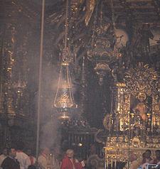 Botafumeiro (giant censer) in the cathedral of Santiago de Compostela, Spain
