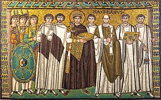 Middle Ages - A mosaic showing Justinian with the bishop of Ravenna (Italy), bodyguards, and courtiers.