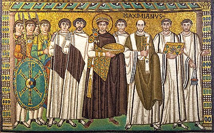 Mosaic of Justinian I with his court, circa 547-549, Basilica of San Vitale (Ravenna, Italy) Sanvitale03.jpg